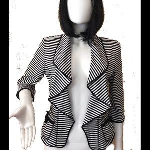 NWOT Joseph Ribkoff Black & White Ruffled Cardigan